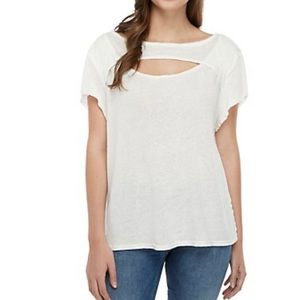 free People cut out neck linen T-shirt in ivory